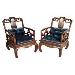 Rare Pair of 19th Century Chinese Hardwood Armchairs