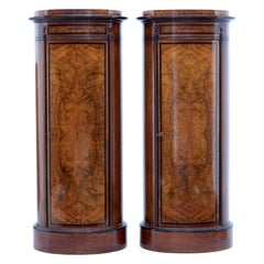 Rare Pair of 19th Century Danish Walnut Pedestal Cabinets