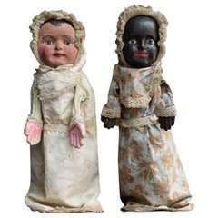 Rare Pair of 19th Century English Papier Mache Handmade Jack in the Box Dolls