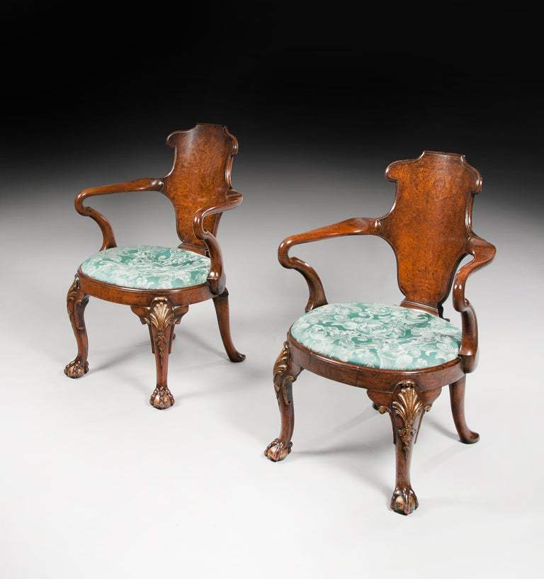 Rare Pair of 19th Century Gillows Walnut and Burr Elm Shepherds Crook Armchairs For Sale 10