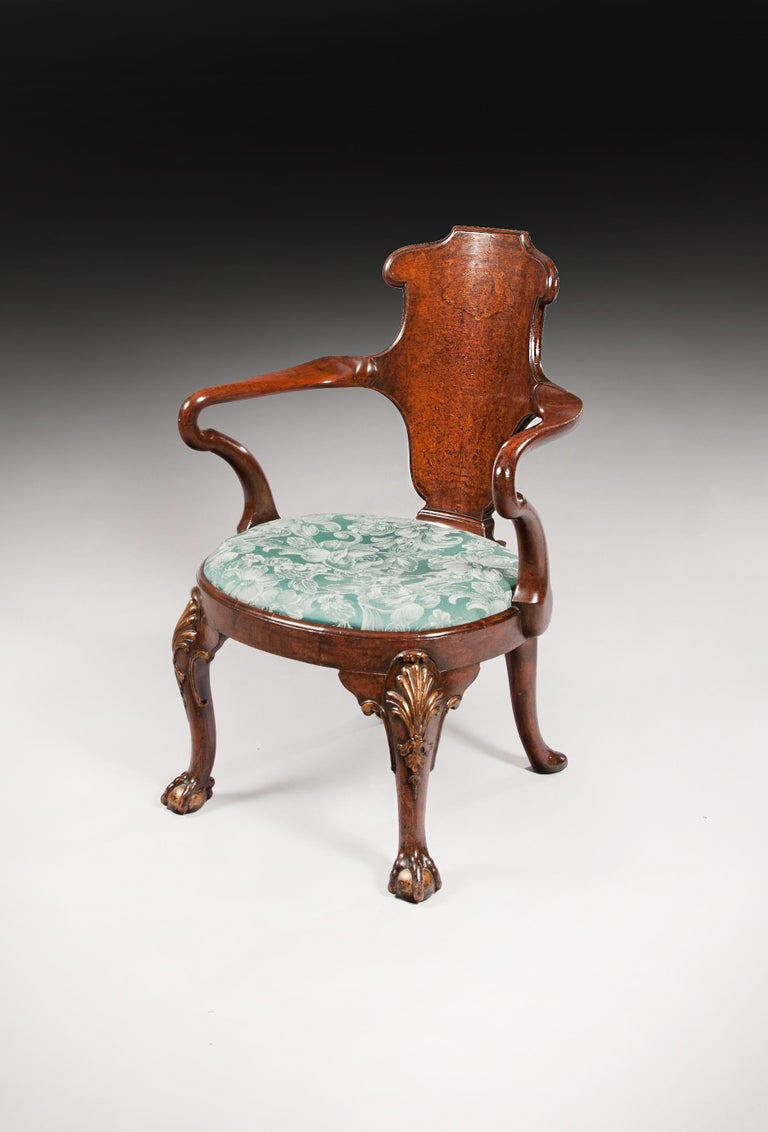 George II Rare Pair of 19th Century Gillows Walnut and Burr Elm Shepherds Crook Armchairs For Sale