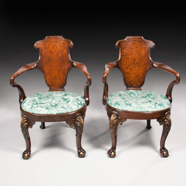 Rare Pair of 19th Century Gillows Walnut and Burr Elm Shepherds Crook Armchairs For Sale 3