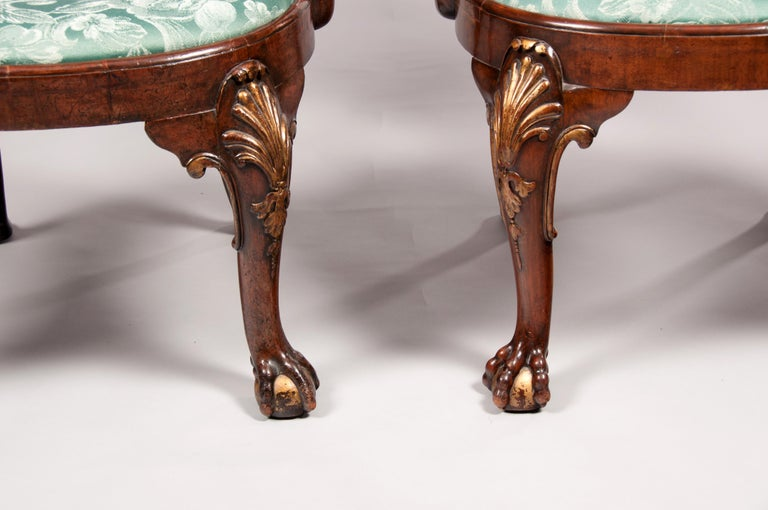 Rare Pair of 19th Century Gillows Walnut and Burr Elm Shepherds Crook Armchairs For Sale 4