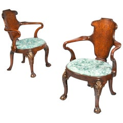 Rare Pair of 19th Century Gillows Walnut and Burr Elm Shepherds Crook Armchairs