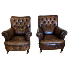 Rare Pair of 19th Century Tobacco Leather Tufted Club Chairs