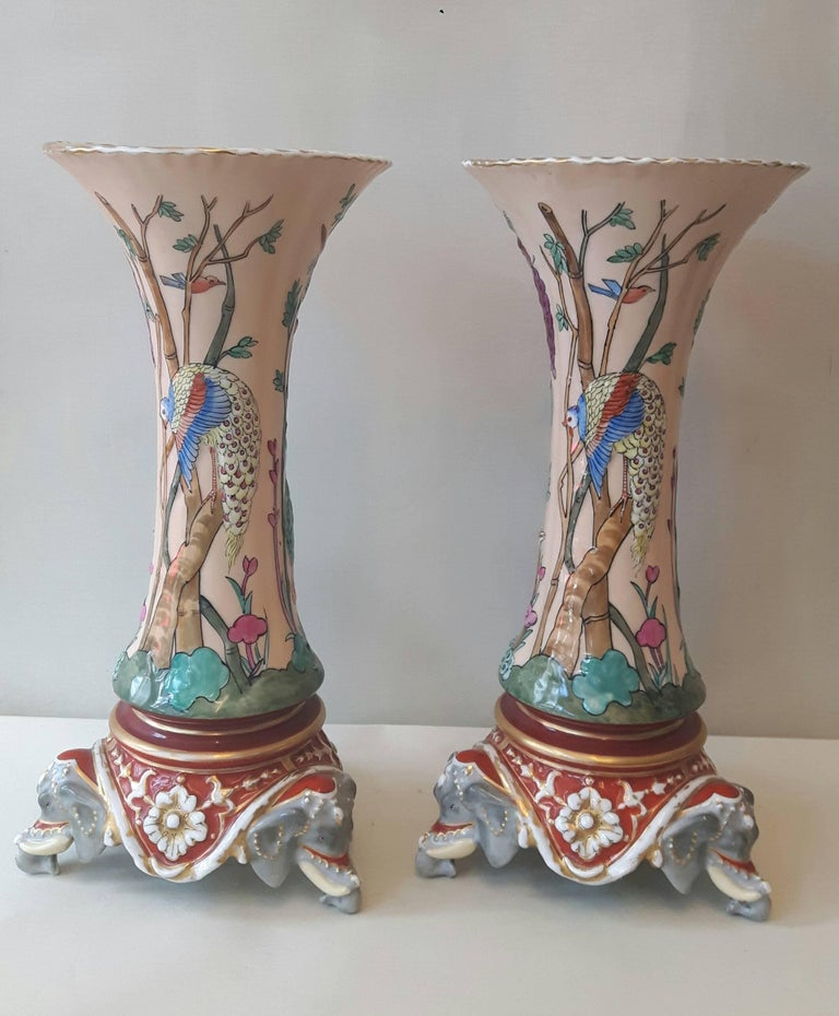 French Rare Pair of 19th Century Trumpet Vases For Sale