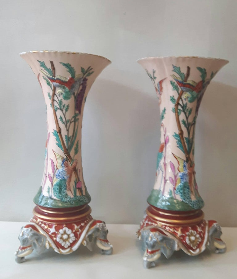 Glazed Rare Pair of 19th Century Trumpet Vases For Sale