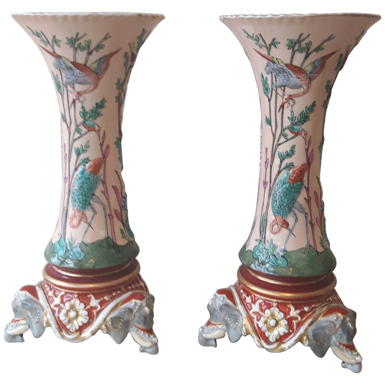 Rare Pair of 19th Century Trumpet Vases For Sale