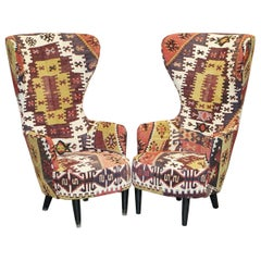 Rare Pair of 2007 George Smith Kilim Tom Dixon Wing Back Armchairs