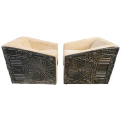 Rare Pair of Adrian Pearsall Brutalist Cube Lounge Chairs Mid-Century Modern