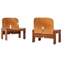 Rare Pair of Afra & Tobia Scarpa 925 Lounge Chairs, Cassina, Italy, 1960s