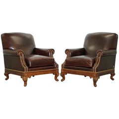 Rare Pair of Althorp Estate Leather Armchairs Princess Diana's Family Home