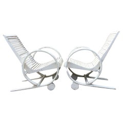 Rare Pair of American Art Deco Garden Patio Lounge Chairs, 1930