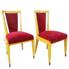 Rare Pair of André Arbus Chairs, France, 1940s