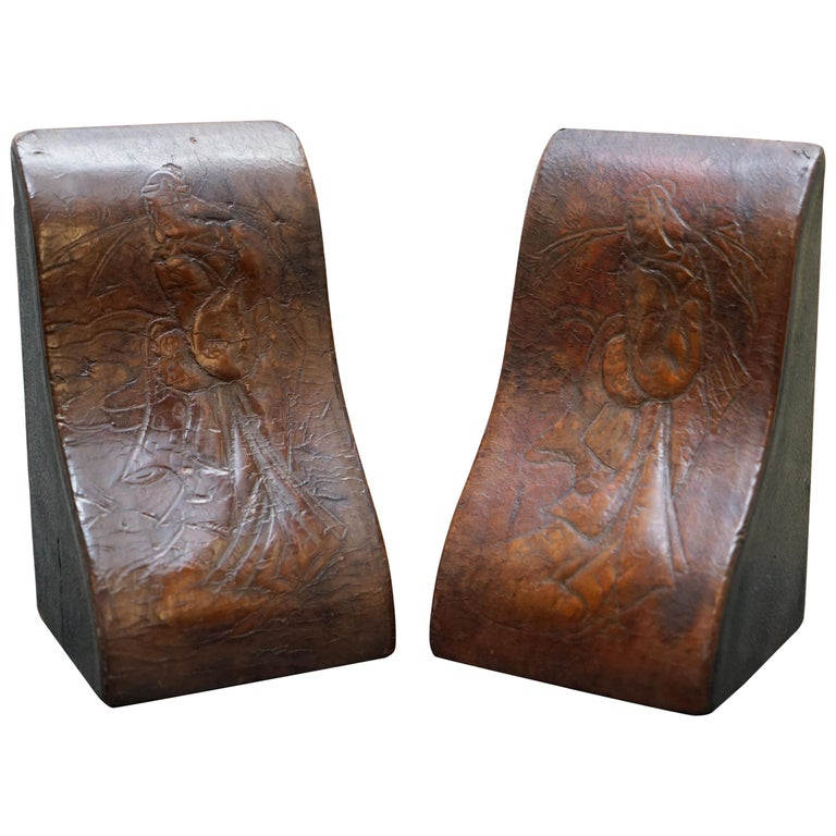 Rare Pair Of Antique Japanese Samurai Leather Bookends Decorative Asprey London For Sale At 1stdibs