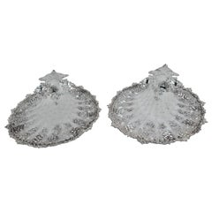 Rare Pair of Antique Tiffany Large Sterling Silver Petit-Four Plates