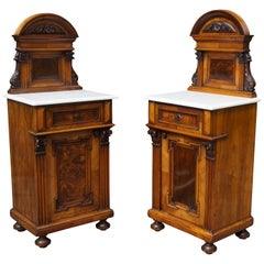 Rare Pair of Antique Victorian Night Stands / Bedside Cabinets with Marble Tops