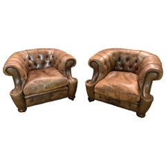 Rare Pair of Antique Vintage Chesterfield Armchairs with Horsehair in Brown