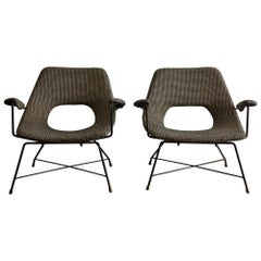 Rare Pair of Armchairs by Augusto Bozzi for Saporiti Italia