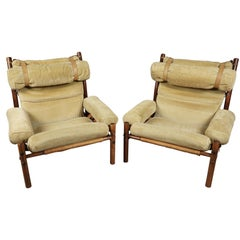 Rare Pair of Arne Norell Lounge Chairs, Model Inca, circa 1960