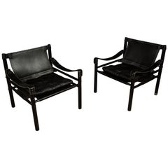 Rare Pair of Arne Norell Lounge Chairs, Model Sirocco, Sweden, 1970s