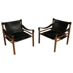 Rare Pair of Arne Norell Safari Lounge Chairs, Model Sirocco, Sweden, circa 1970