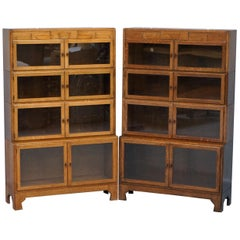 Rare Pair of Art Deco Oak Modular Minty Oxford Antique Stacking Legal Bookcases