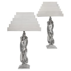 Rare Pair of Art Deco Stylized Figural Nickel Table Lamps, M. Bouraine, C 1930s
