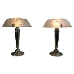 Rare Pair of Art Deco Table Lamps, Signed by Muller Frères Luneville