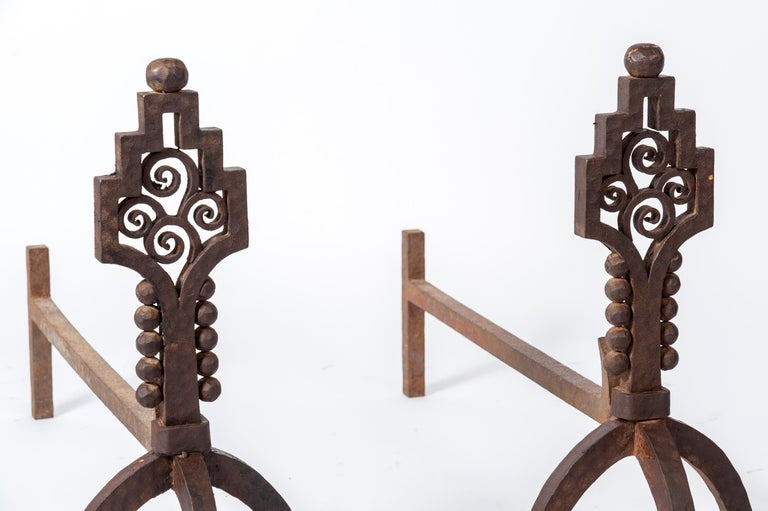 French Rare Pair of Art Deco Wrought Iron Andirons by Paul Kiss For Sale