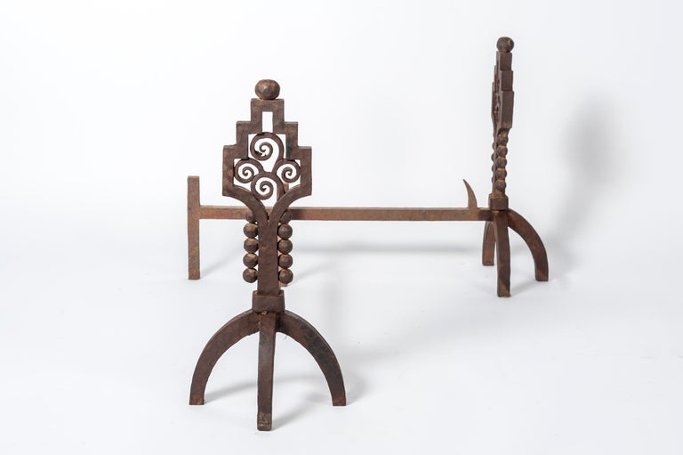 Mid-20th Century Rare Pair of Art Deco Wrought Iron Andirons by Paul Kiss For Sale