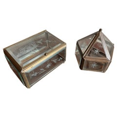 Rare Pair of Arts & Crafts Glass and Brass Boxes with Hand Engraved Flowers