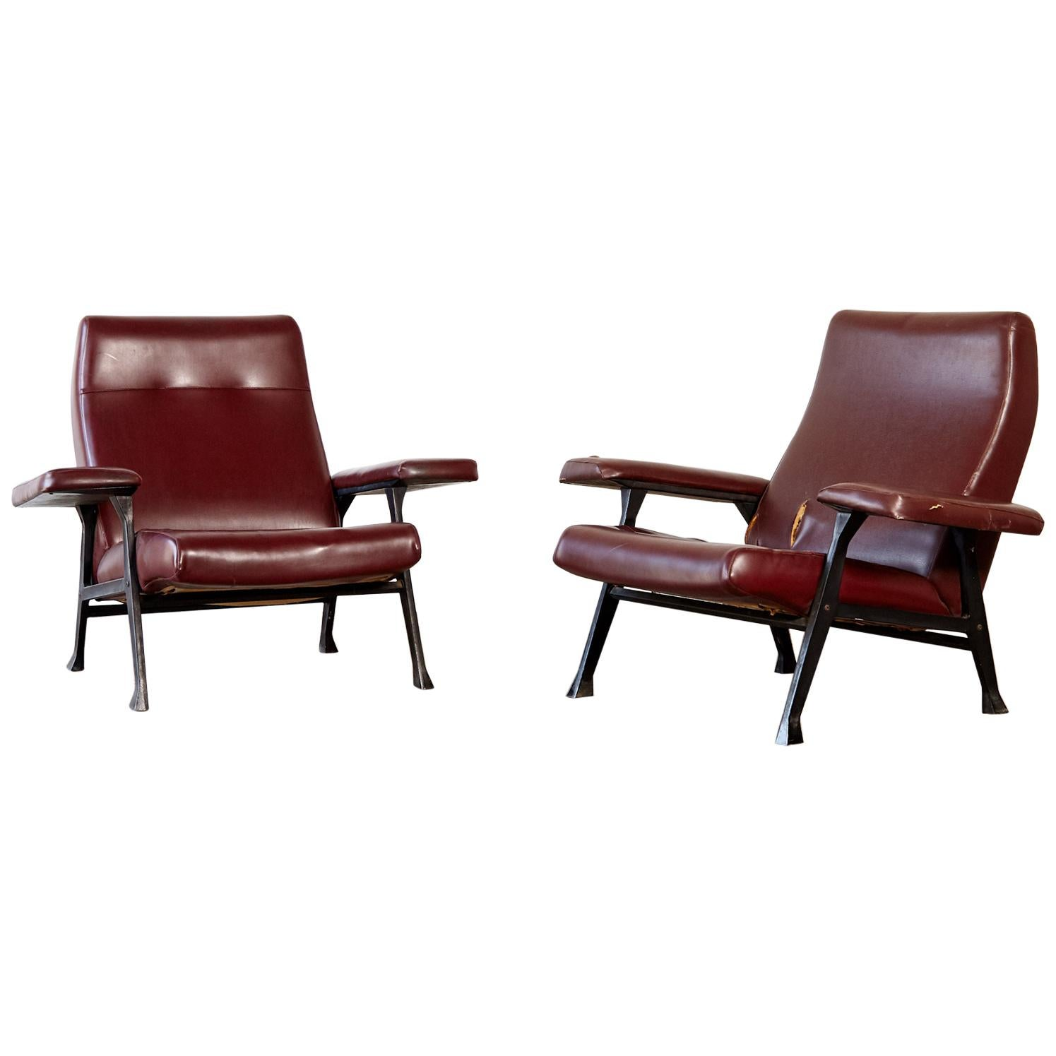 Rare Pair of Authentic 1950s Roberto Menghi Hall Chairs, Arflex, Italy