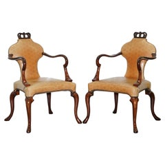 Rare Pair of Baker Queen Anne Stately Homes Brown Leather Armchairs