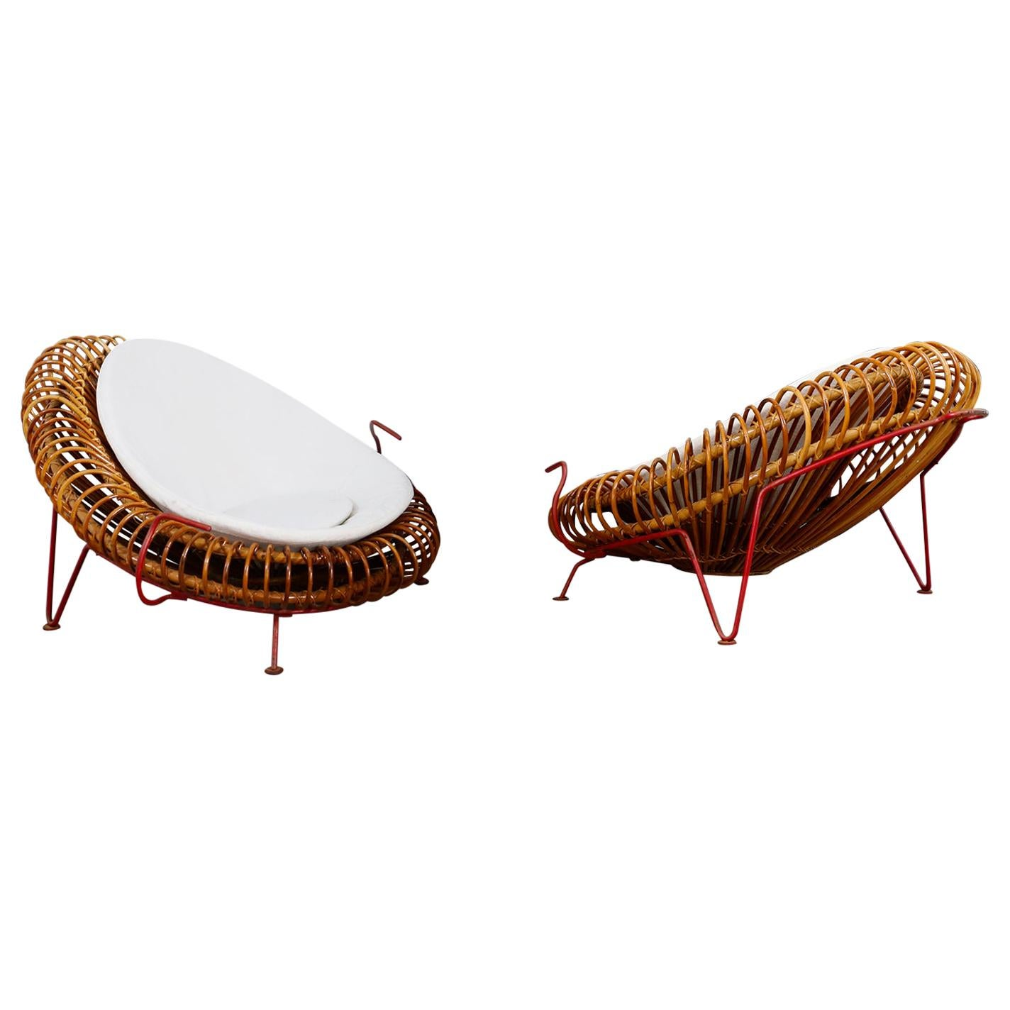 Rare Pair of Bamboo Armchairs Midcentury by Janine Abraham & Dirk Jan Rol, 1950s