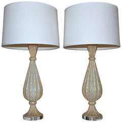 Rare Pair of Barovier e Toso Murano Italian Gold Opalescent Table Lamps