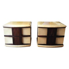 Rare Pair of Bedside Tables Designed by Aldo Tura, 1960s