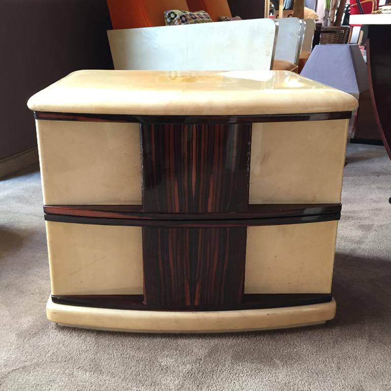 Mid-Century Modern Rare Pair of Bedside Tables in Parchment and Wood Designed by Aldo Tura, 1960s For Sale