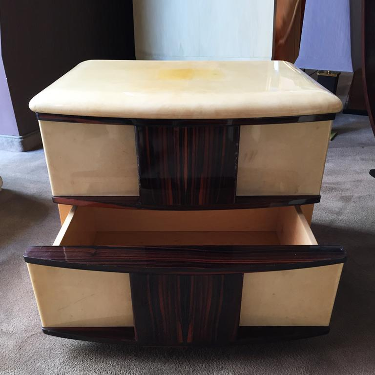 Italian Rare Pair of Bedside Tables in Parchment and Wood Designed by Aldo Tura, 1960s For Sale