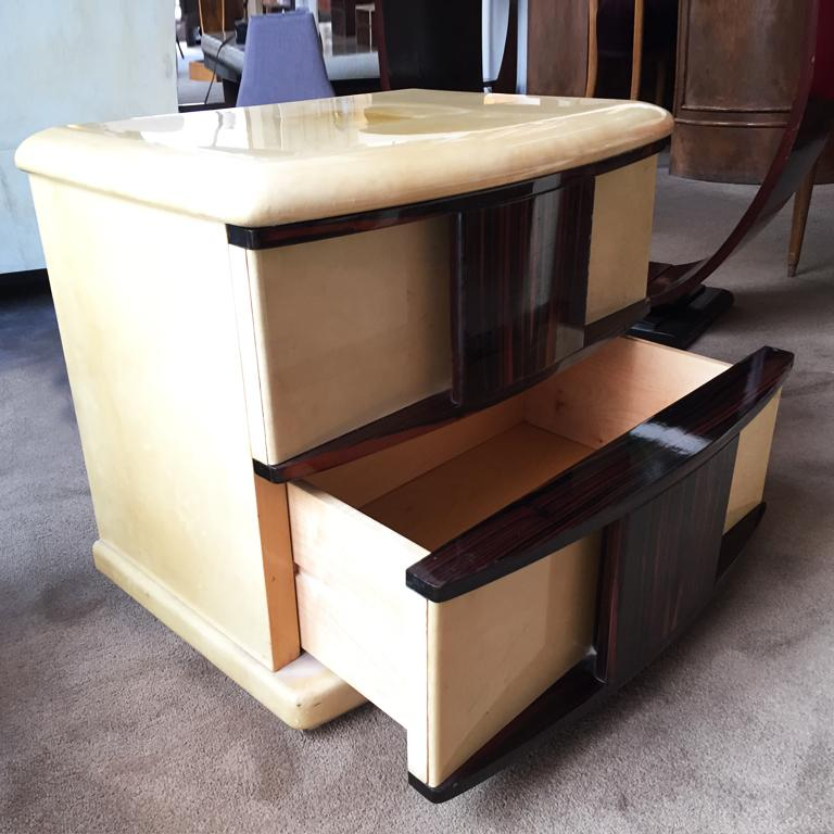 Rare Pair of Bedside Tables in Parchment and Wood Designed by Aldo Tura, 1960s In Excellent Condition For Sale In Milan, IT