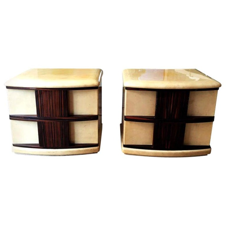Rare Pair of Bedside Tables in Parchment and Wood Designed by Aldo Tura, 1960s For Sale