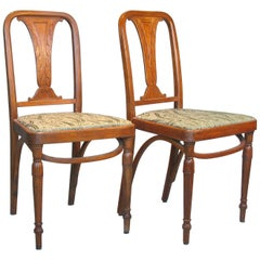 Rare Pair of Bentwood Side Chairs by Jacob & Josef, Czechoslovakia, circa 1920