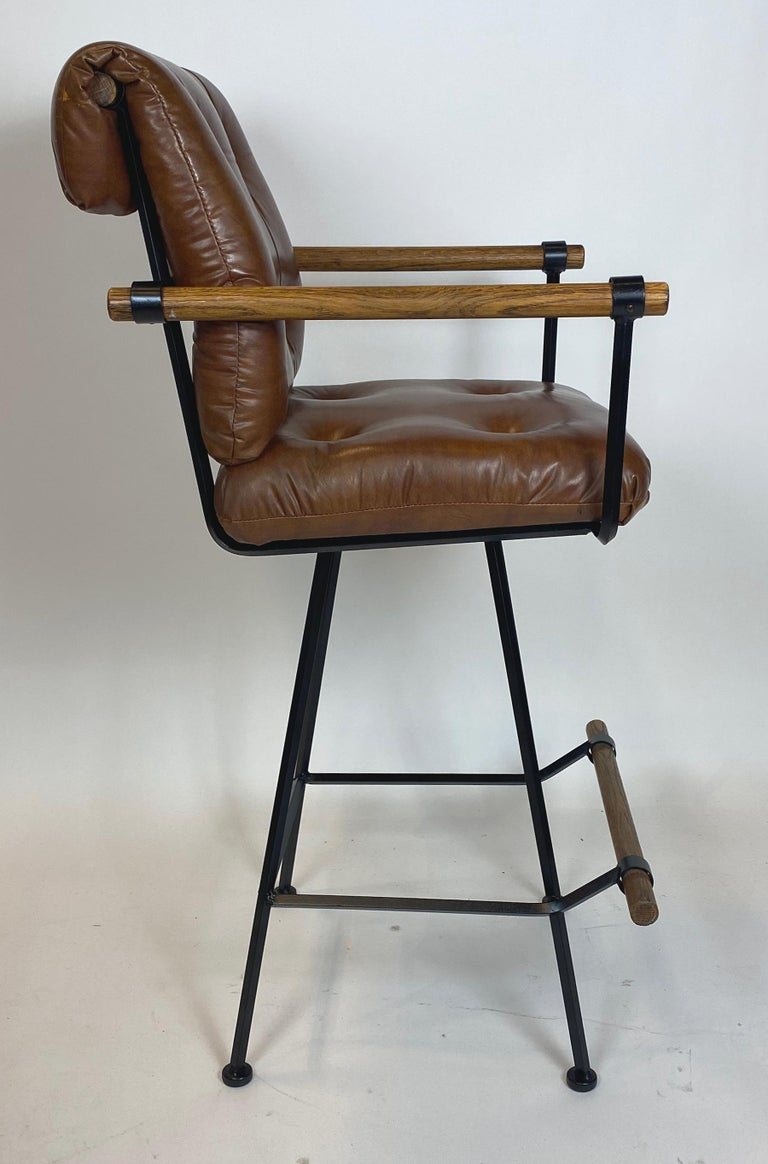 American Rare Pair of Billiard Stools with Arms by Cleo Baldon for Terra For Sale