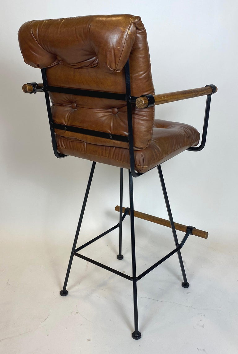 Rare Pair of Billiard Stools with Arms by Cleo Baldon for Terra In Good Condition For Sale In San Leandro, CA