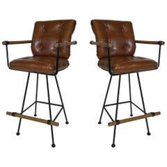 Rare Pair of Billiard Stools with Arms by Cleo Baldon for Terra