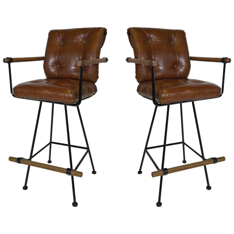 Rare Pair of Billiard Stools with Arms by Cleo Baldon for Terra For Sale