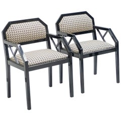 Rare Pair of Black Lacquer Chairs J.C. Mahey, 1970s
