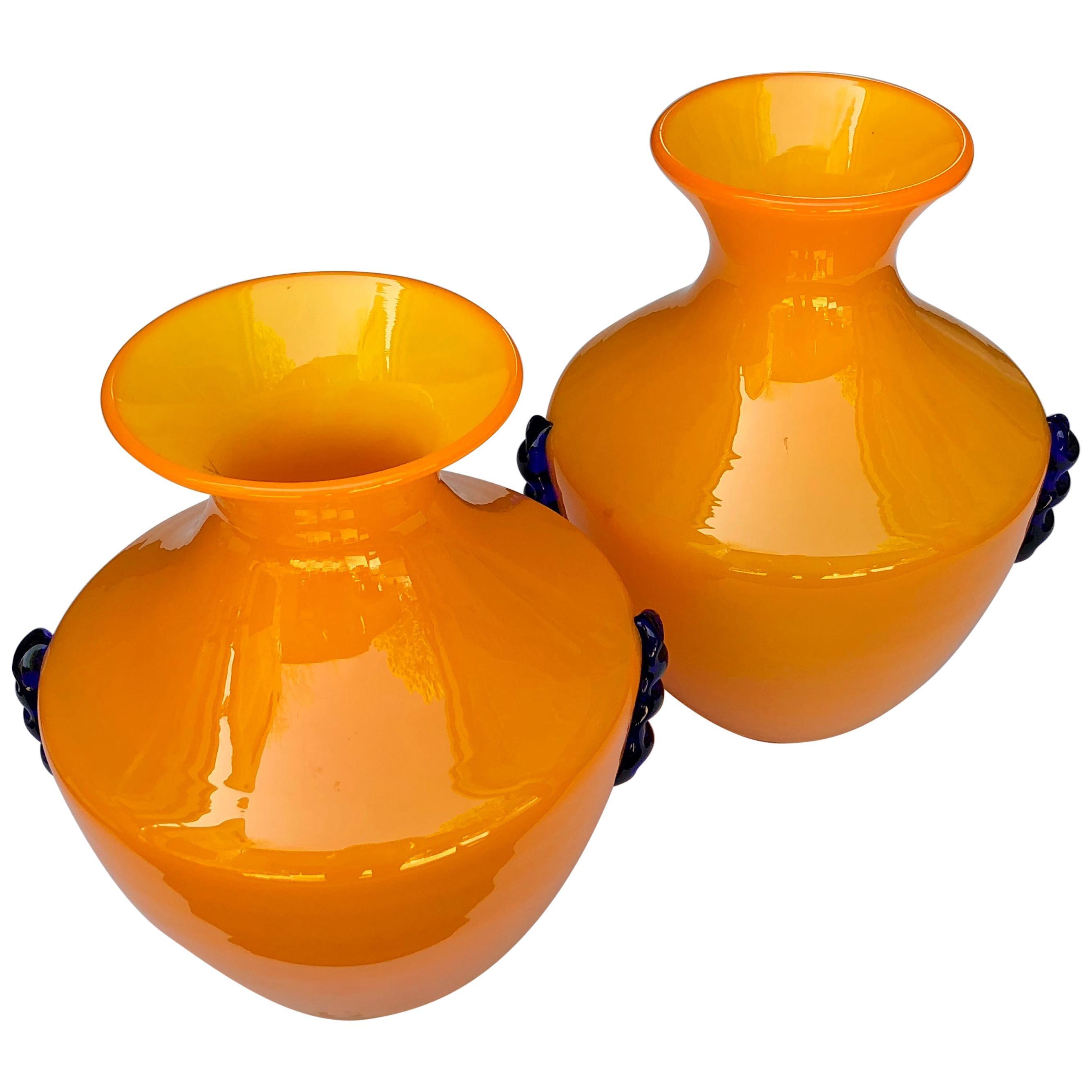 Rare Pair of Blenko Orange Glass Vases with Applied Cobalt Decoration