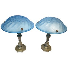 Rare Pair of blue French Art Deco Table Lamps designed by Degue