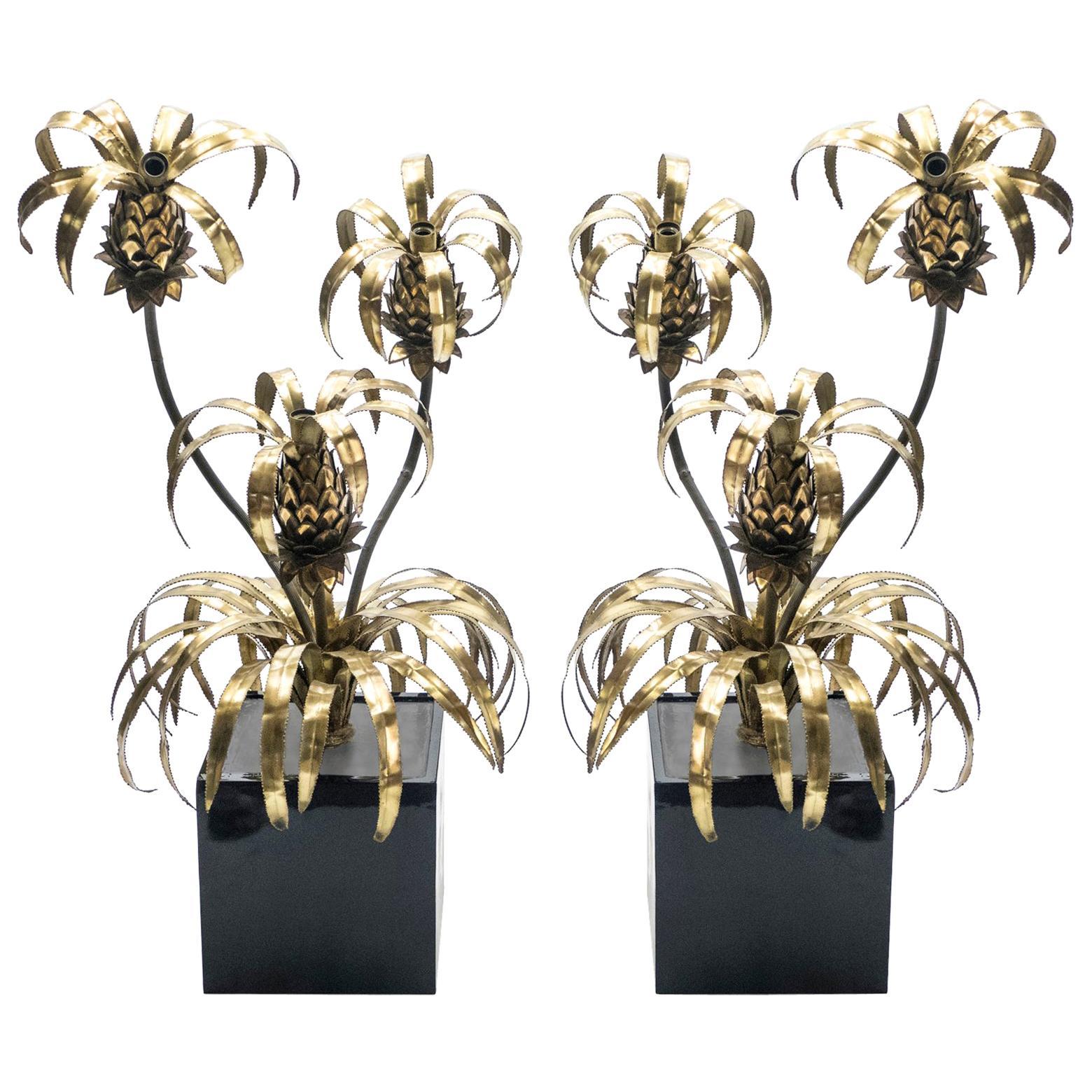 Rare Pair of Brass Maison Jansen Pineapple Floor Lamps, 1970s